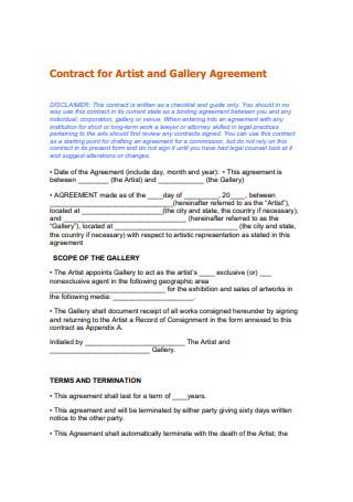 Standard Artist Gallery Contract