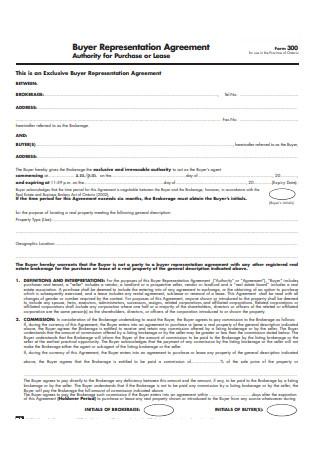 Standard Buyer Representation Agreement