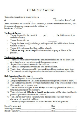 Standard Child Care Contract