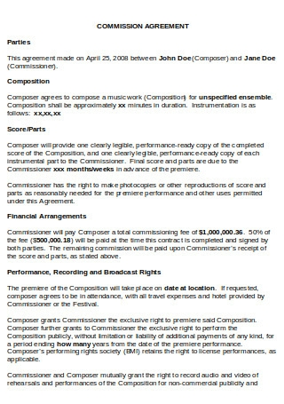 Standard Commission Agreement
