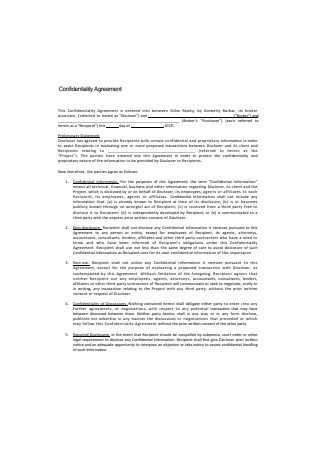Standard Confidentiality Agreement Format