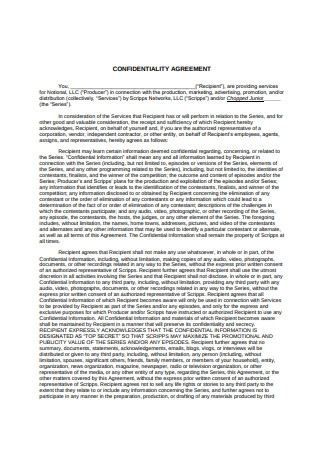 Standard Confidentiality Agreement Sample
