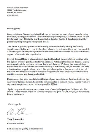 Standard Congratulations Letter