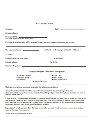 Standard Daycare Contract Format