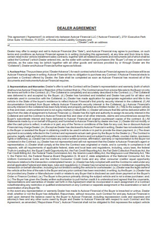 Standard Dealer Agreement Format