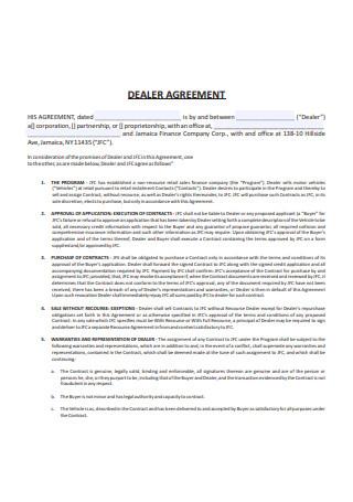 Standard Dealer Agreement