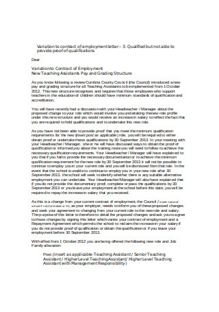 Standard Employment Letter Format
