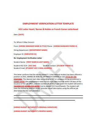 Standard Employment Verification Letter
