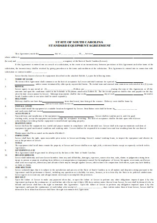 Standard Equipment Lease Agreement Format