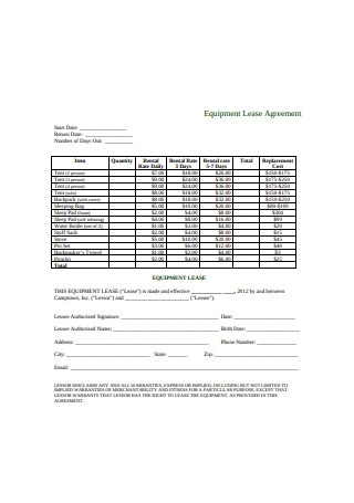 Standard Equipment Lease Agreement