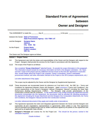 Standard Form of Agreement Between Owner and Designer