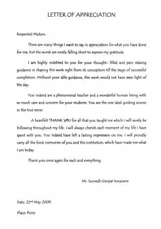 Standard Letter of Appreciation
