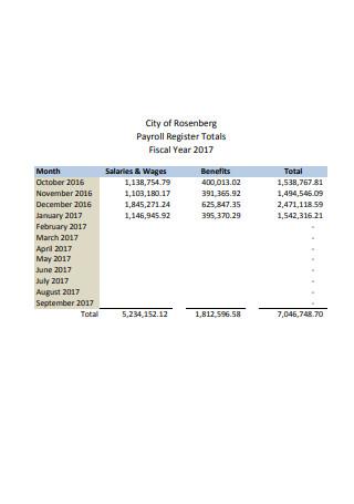 Standard Payroll Register