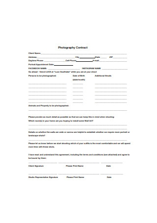 Standard Photography Contract