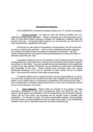 Standard Representation Agreement