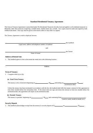 Standard Residential Tenancy Agreement Example