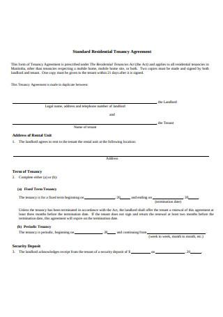 Standard Residential Tenancy Agreement Example