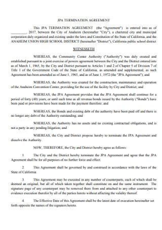 Standard Termination Agreement