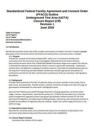 Standardized Federal Facility Agreement