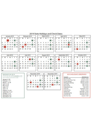 State Holidays and Check Dates Calendar