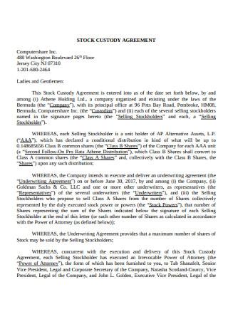 Stock Custody Agreement