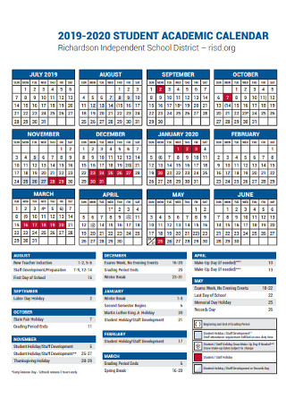 Student Academic Year Calendar