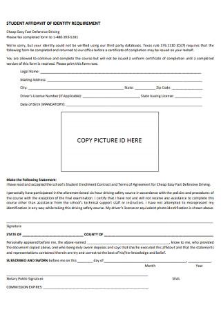 Student Affidavit of Identity Requirments Form