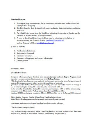 Student Dismissal Letter Sample