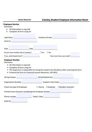 Student Employee Information Sheet