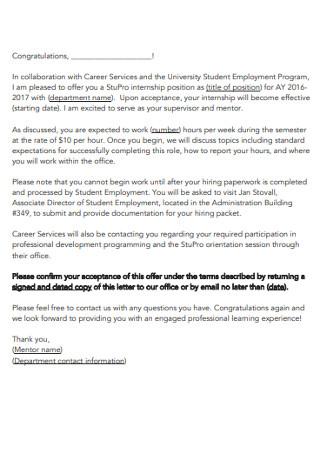 Student Intership Passed Congratulation Letter