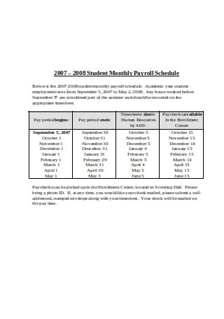 Student Monthly Payroll Schedule