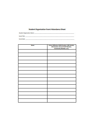 Student Organization Event Attendance Sheet