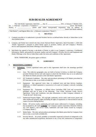 Sub Dealer Agreement