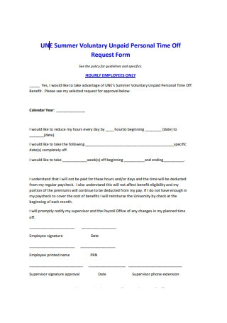 Summer Voluntary Unpaid Personal Time Off Request Form