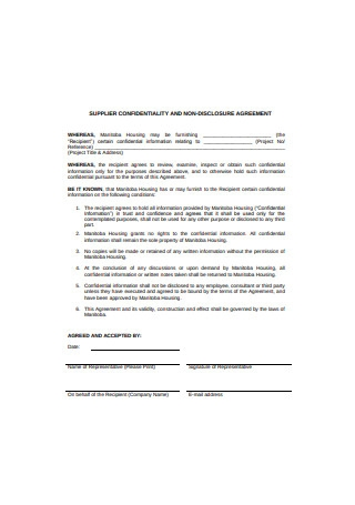 Supplier Confidentiality and Non Disclosure Agreement