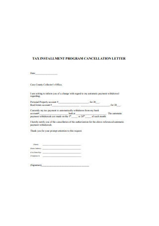 Tax Installment Program Cancellation Letter