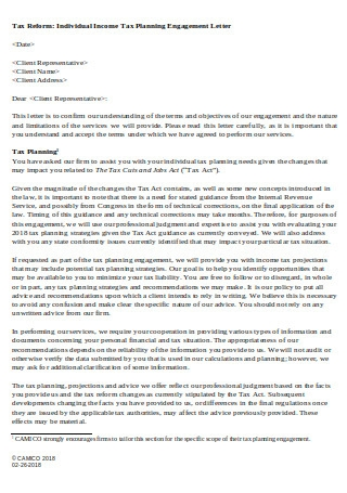 Tax Planning Engagement Letter