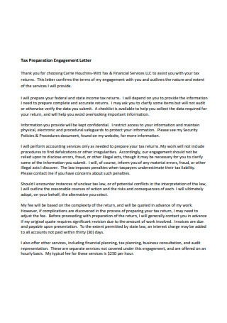 Tax Preparation Engagement Letter