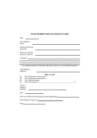 Team Member Time Off Request Form