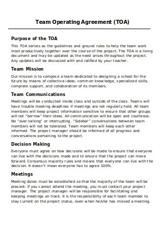 Team Operating Agreement