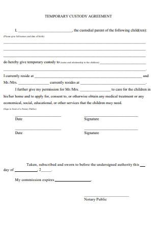 Temporary Custody Agreement