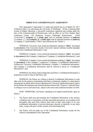 Three Way Confidentiality Agreement