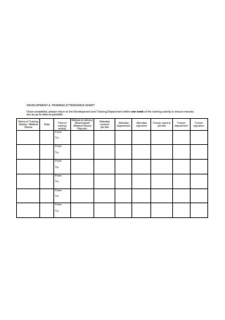 Training Attendance Sheet Format