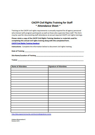 Training for Staff Attendance Sheet