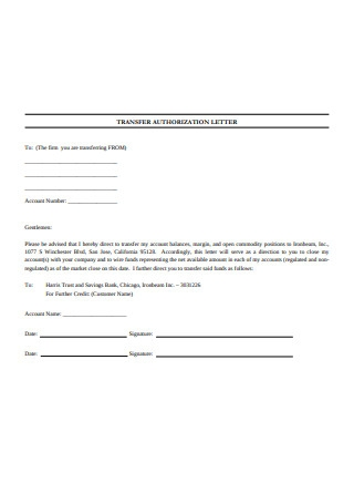 Transfer Authorization Letter