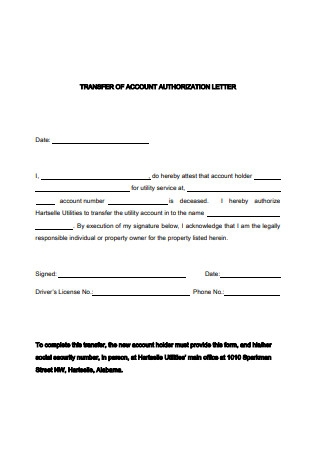 Transfer of Account Authorization Letter