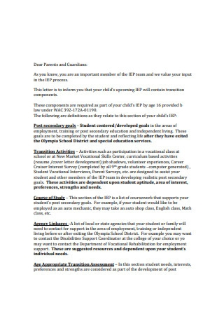 Transition explanation letter