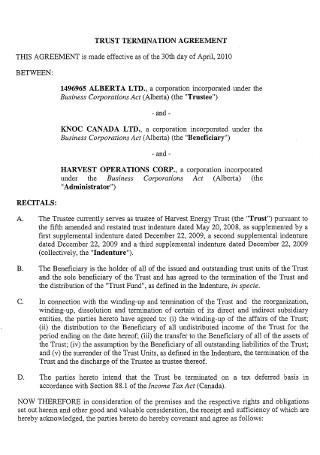 Trust Termination Letter