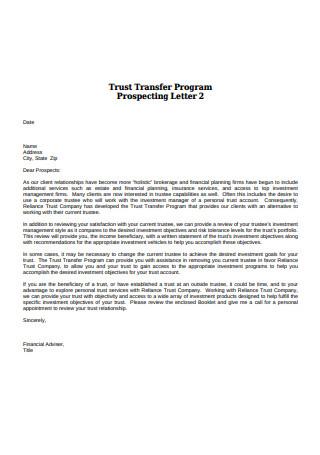 Trust Transfer Program Prospecting Letter