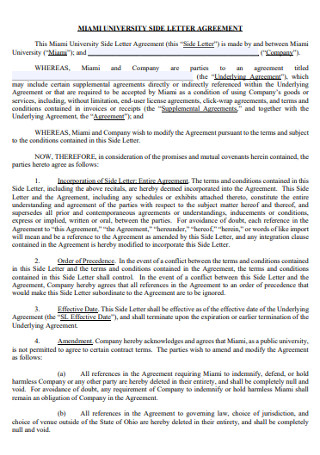 University Side Letter of Agreement